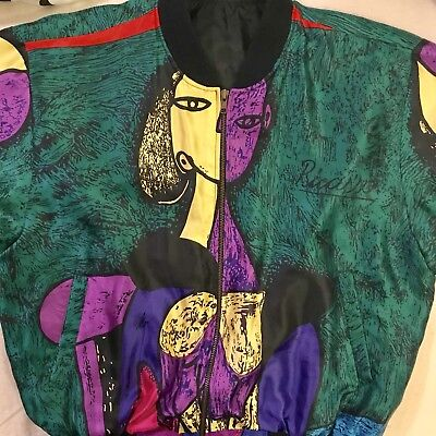 Vintage 80s 90s Women Pablo Picasso Abstract Art Bomber Hip Hop Jacket