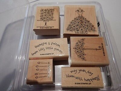 Stampin Up 2006 Rare Retired Stamp Set - Blooming with Happiness