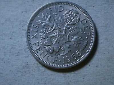 Great Britain 6 pence sixpence 1966 QEII young queen Wedding coin gift .