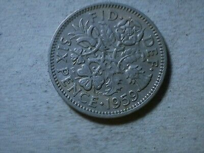 Great Britain 6 pence sixpence 1959 QEII young queen Wedding coin gift .
