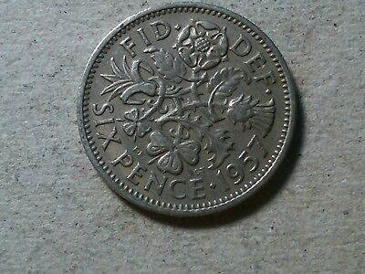 Great Britain 6 pence sixpence 1957 QEII young queen Wedding coin gift .