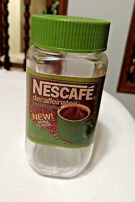 Vintage NesCafe Decaffeinated Instant Coffee JAR, Empty, 4 oz., Clear Glass