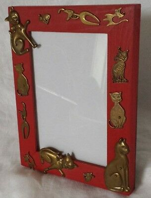 Red Wood Brass Cat Silhouettes Picture Frame Easel Vertical Horizontal 4x6 EUC