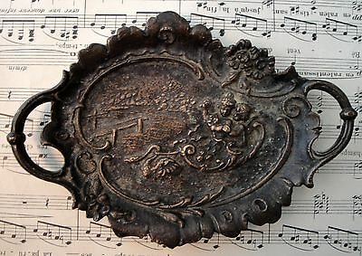 Antique French Art Nouveau Bronze Tray with Swan pulling shell Boat c1900