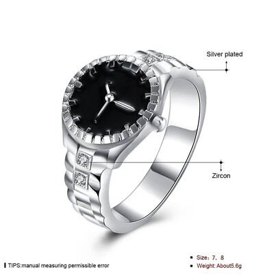 Creative Women 925 Silver Finger Ring Watch Alloy Personality Jewelry Gift