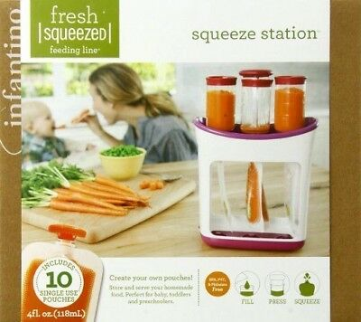 Infantino SQUEEZE STATION + 10 Pouches Baby Food Storage Set NEW