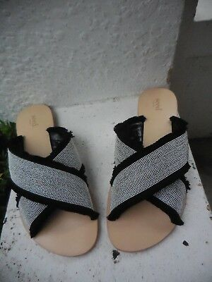 Seed Heritage Black Silver Grey Leather + Slides Flats As New 41  9 10