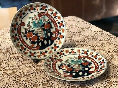 Pair of Medium Size Antique Japanese Imari Porcelain Plate Meiji Period