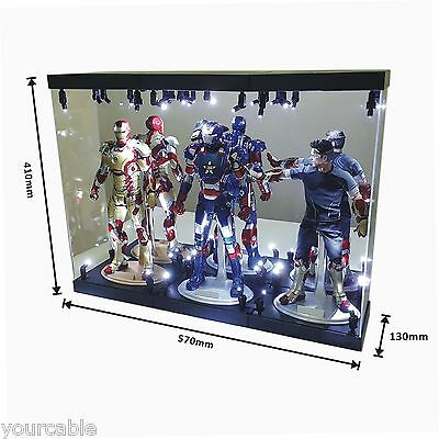 """Acrylic Display Case Light Box for THREE 12"""" 1/6 Scale IRON MAN 3 Action Figure"""
