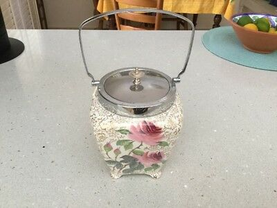 Vintage Midwinter Biscuit Barrel Pink Roses Stunning Condition