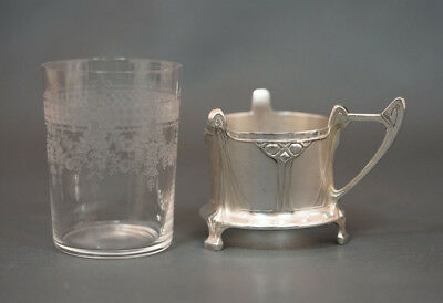 1906 WMF Acid Etched Glass Cup w Silver Plated Holder Albin Muller Art Nouveau