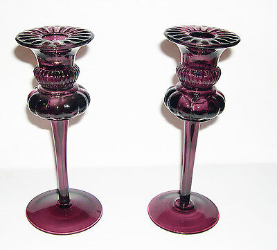 Vintage Pair of Amethyst Glass Candlesticks - 19.5cm Tall - Weighty -Collectable