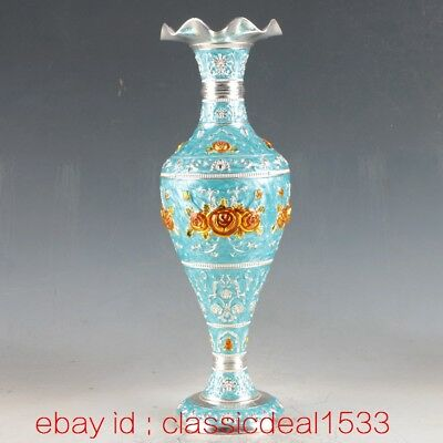 Exquisite Chinese Cloisonne Handwork Carved Flower Vase Old Asian Art PA1530