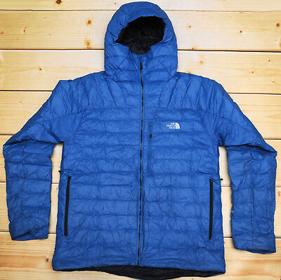 354938747 THE NORTH FACE MORPH HOODIE - 800 DOWN insulated MEN'S BLUE PUFFER JACKET -  L