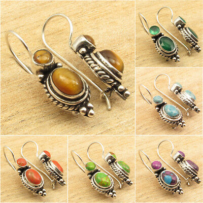 925 Silver Plated ANCIENT STYLE Earrings, Natural Gemstone Choices