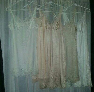 5 x Preloved Vintage Retro Slips Petticoats Nighties Nylon Excellent Condition