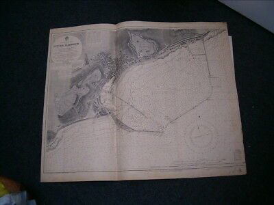 Vintage Admiralty Chart 1698 ENGLAND - DOVER HARBOUR 1924 edn