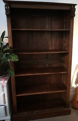 Tall Victorian solid mahogany library bookcase, 4 adjustable shelves, 210 cms.