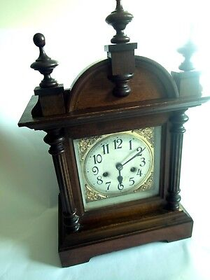Edwardian Bracket Clock with Architectural Casing and Coiled Bar Strike