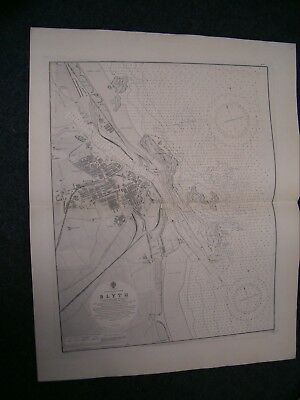 Vintage Admiralty Chart 1626 ENGLAND - BLYTH 1916 edn