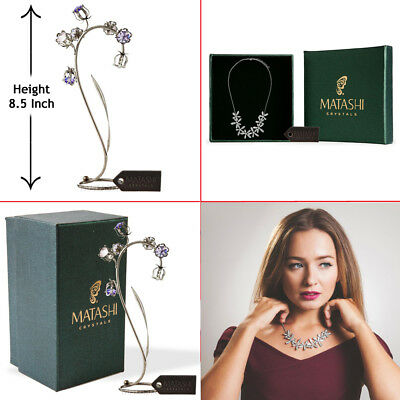 Matashi Black Metal Crystal Flower & Rhodium Plated Necklace with Flowers Design