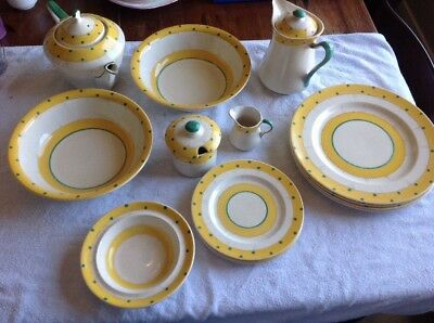 Old Yellow And White Dinner Set At Least 70 Years Old