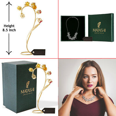 Matashi 24k Gold Plated Crystal Flower w/ Rhodium Plated Necklace Flowers Design
