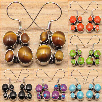 925 Silver Plated Multi Gemstone Earrings ! Ancient Style Girls Jewelry
