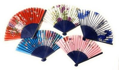 5 Chinese Floral Silk Folding Hand Held Fan Wedding Dancing Party Fans Job Lot