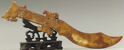 Old Chinese natural jade hand-carved dragon sword statue 10.3 inch