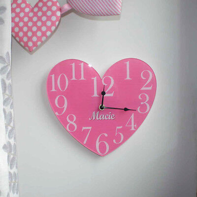 Personalised Vintage Heart Clock, Girls Heart Shaped Wall Clock, Lot of Colours