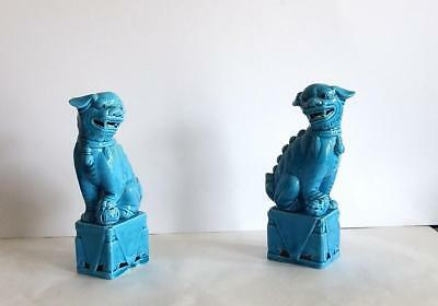 Vintage Pair of Turquoise Blue Chinese Foo Dogs Ceramic Figurines Statues