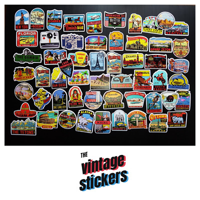 Lot of 55 Vintage Travel State Stickers Style Old Fashioned Suitcase Luggage