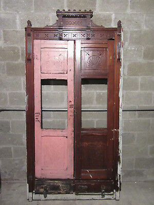 ANTIQUE CARVED WALNUT CLOSET FRONT~ BUILT IN ARMOIRE ~ 50 x 98~ SALVAGE