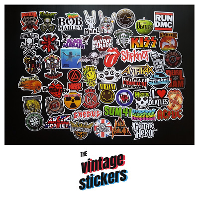 Lot of 50 pcs vintage music band metal heavy rock n roll punk retro stickers