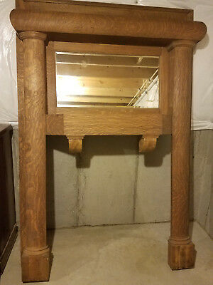 Tiger Oak Fireplace Mantel Mantle With beveled Mirror