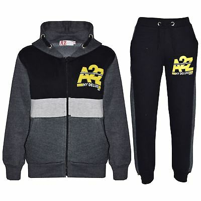Kids Jogging Suit Boys Girls Designer's Tracksuits Zipped Top Bottom 7-13 Years