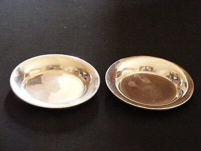 "Set of 2 Sterling Silver .925 Nut / Butter Pat Dishes, 3 1/4"" 65g total, Mexico"
