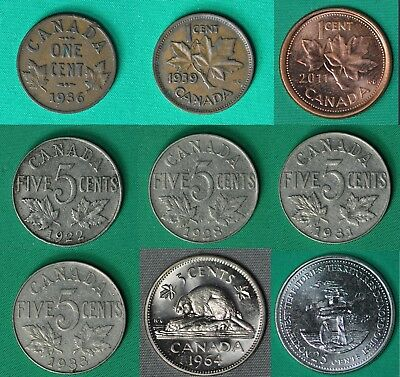 Canada 1 Cent 1936, 1939, 2011 Magnetic, 5 Cents 1922-28-31-33-64, 25 cents 1992