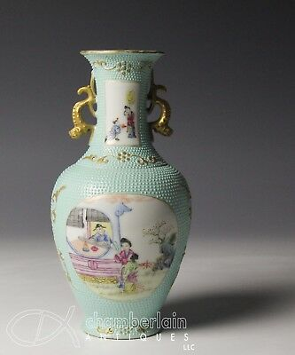 Chinese Republic Period Chicken Skin Porcelain Vase With Scenes Of Figures