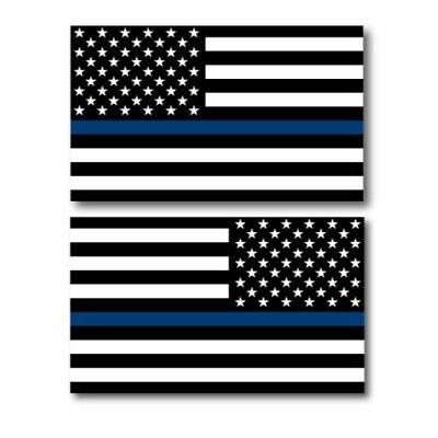 Thin Blue Line Opposing American Flag Magnets 2 Pack 3x5 inch Car/Fridge Decals