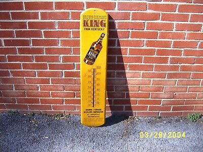 Antique King Whiskey Thermometer Advertising Sign Brown Forman Distillery