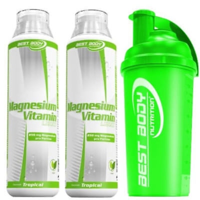 2 x Best Body Nutrition - Magnesium Liquid 500 ml Flasche + 1 Shaker von BBN