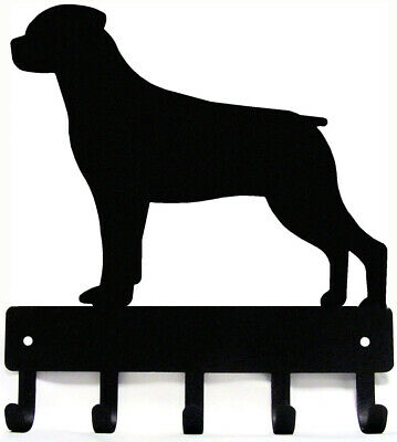 "Rottweiler Dog Leash Hanger Metal Wall Key Rack Holder 5 Hooks Small 6"" Made USA"