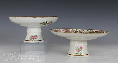 Two Antique Chinese Famille Rose Porcelain Pedestal Plates Dishes