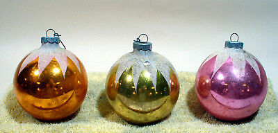 3 Vintage Mercury Glass Christmas Ornaments Large Round Frosted Bulbs