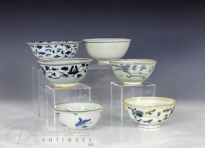 Nice Lot Of 6 Antique Chinese Blue And White Porcelain Bowls