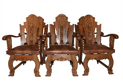 Unique Set of Six French Gothic Dining Chairs, Oak, 1920's