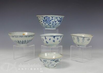 Lot Of 5 Antique Chinese Blue And White Porcelain Bowls - Ming