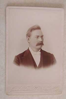 vv214 Vintage Cabinet Card Photo Photograph Antique Man Mustache Davenport Iowa